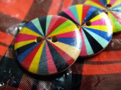 Rainbow Wooden Buttons  So Fun Color Wheel Convex Wood by Lyanwood, $5.00