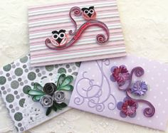 Envelopes Paper Quilling Mini Small Gift Card Holder Quilled Owls Cabbage Roses Set of 3 Pink Purple Scrapbooking Handmade Australia