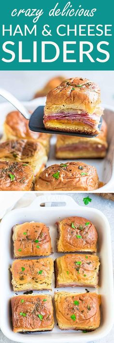 These Hot Oven Baked Ham and Cheese Sliders are the perfect game day snacks or appetizers. Best of all, they are a great way for using up any leftover ham from Thanksgiving, Christmas and Easter. Super easy to make with oven roasted ham, two cheeses and buttery garlic sauce over Hawaiian rolls. Great for feeding a crowd for a party or game day!