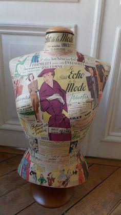 Mannequin couture buste, déco Mode sur pied en bois