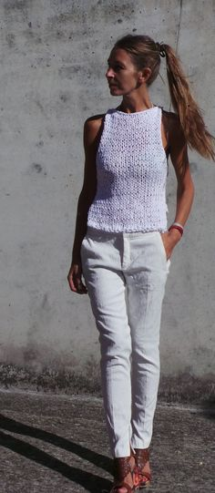 White tank white cropped tank white cotton tank white by ileaiye Tank Top Outfits, Easy Knitting Patterns, Crochet Patterns, Summer Knitting, Knitted Tank Top, Top Pattern, Pattern Fashion, Clothing Patterns, Knitwear