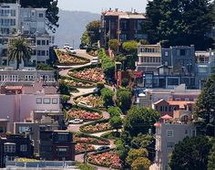 Lombard Street, San Francisco, California.  They clearly do not get ice storms.  Used to love to take visiting friends up the other side of the hill in my old V-8 Mustang.  The hood was so long, that just before the top of the hill, all you could see was hood and sky.  Went down once in a stretch limo; that was an experience...