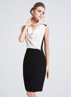 Bloque sin mangas de poliéster de color encima de la rodilla Vestidos elegantes (1955101360)