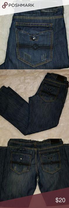 "Buffalo David Bitton Dover Jeans Dark blue Buffalo jeans at a great price. Button down back pockets dark brown stitching. 34""×32"" inseam Buffalo David Bitton Jeans Straight"