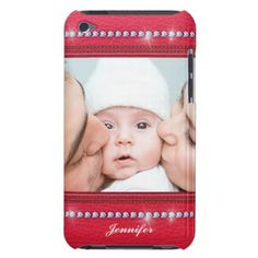 Pink Leather & diamonds - add your photo and name Barely There iPod Cover - photo gifts cyo photos personalize