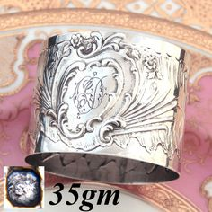 Antique French Sterling Silver Napkin Ring, Ornate Louis XVI or Rococo Pattern, 'CD' Monogram