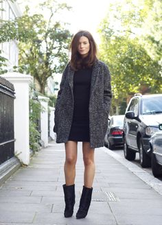 Show a bit of leg while keeping the rest of your body super warm with a turtle necked shift dress and a big wool coat and boots.