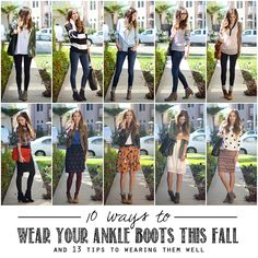 I love ankle boots. I do not love it when my legs look short and/or fat. Soooo: 10 Ways to Wear Ankle Boots (and 13 Tips To Wearing Them Well) Looks Chic, Looks Style, Style Me, Fashion Looks, Fashion Beauty, Fashion Tips, Fashion Outfits, Fall Winter Outfits, Autumn Winter Fashion