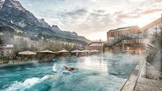 pool and waldspa surround the modern design hotel & spa, Forsthofgut in Leogang Austria Hotel Alpen, Resorts, Hotel Europa, Sport Pool, Austria Travel, Wellness Spa, Design Hotel, Water Slides, Hotel Spa