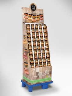 Display für den Abverkauf von Gläsern. Mit abgeschrägten Fächern für eine ansprechende und vor allem stabile Präsentation der Ware. • #packit! #Wellpappe #Karton #Display #POS Palette Display, Little Lunch, Display Boxes, Calendar, Holiday Decor, Home Decor, Pos, Packaging