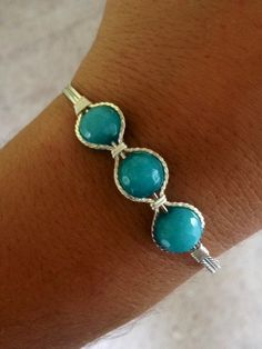 Wire Wrapped Turquoise Silver Bracelet Hand Made Bracelet