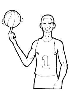 Un joueur de Basketball mettant en équilibre un ballon sur son doigt,  à colorier