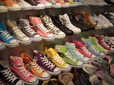 Someday, I would like to walk to every store that sells these shoes, and buy every pair of Chuck Taylor All Star Converse Converse All Star, Converse Store, Converse Chucks, Converse Chuck Taylor, Colored Converse, Rainbow Converse, Cheap Converse, Converse Fashion, Knee High Converse