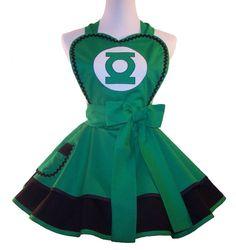Superhero Apron Green Lantern Apron Cosplay by WellLaDiDaAprons, $60.00