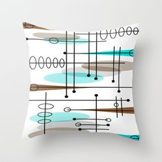 Mid-Century Modern Atomic Inspired Throw Pillow by Kippygirl - $20.00