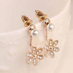2017 Fashion Women Girls Shining Rhinestone Pearl Flower Drop Ear Stud Earrings for Ladies OL Jewelry Wholesale Shipping Free