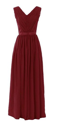 Endofjune Long Pleated V Neck Bridesmaid Dresses Chiffon Prom Evening Gown >> Can't believe it's available, see it now : Bridesmaid Dresses