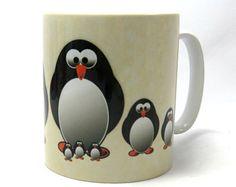 Pingouin famille Mug, Mug mignon pingouin, pingouin, idées cadeaux.