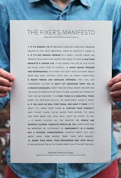Fixer's Manifesto (downloadable or letterpress) - love it