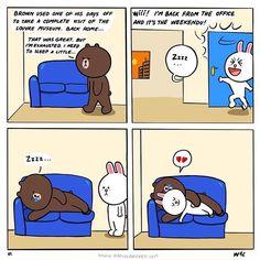 Cute brown and cony comic Cute Couple Cartoon, Cute Couple Art, Cute Love Cartoons, Line Brown Bear, Bear Gif, Cony Brown, Cute Bear Drawings, Chibi Cat, Simple Artwork