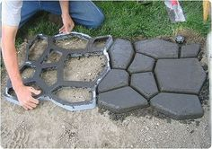 i'd love to try this in the future for my home :] DIY faux rocks on the ground