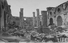 Ruins of Sto Domingo church resulting from battle for liberation from Japanese during WWII. Location: Manila, Philippines Date taken: 1945 Photographer: Carl Mydans Treaty Of Paris, President Of The Philippines, Philippine Holidays, The Spanish American War, Intramuros, The Republic, Still Image, Wwii, Vintage Photos