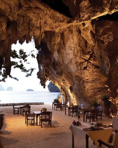 The Grotto, one of the Rayavadee's four restaurants, is right on Phranang Beach.