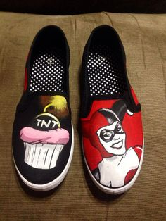 OMFG WANT!!!!!! Harley Quinn Custom Shoes by Because42CustomKicks on Etsy, $50.00