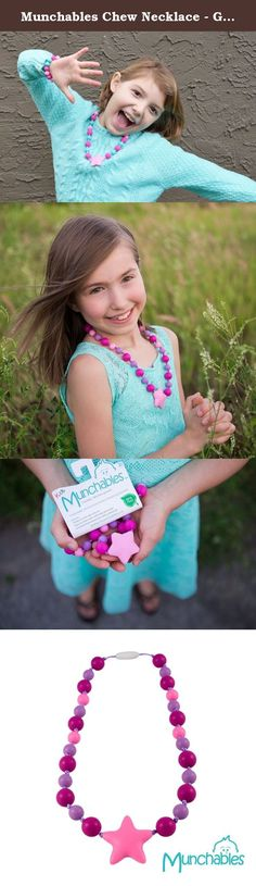 Munchables Chew Necklace - Girls' Knotty Starlight Chewelry (Fuchsia/Pink/Purple). Munchables kids' products are perfect not only as fashion accessories, but also for children that love to chew. Munchables provide a safe alternative to chewing on collars, cuffs, fingers. Made of durable, BPA-free, 100% food-grade silicone, Munchables can reduce anxiety and boost confidence. Munchables offers pencil toppers, 'manly' dog tag pendants, adorable beaded necklaces, cute bracelets, key rings and...
