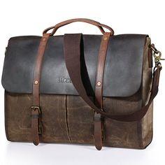 [Affiliate] Lifewit Men's Messenger Bag Waterproof Leather Waxed Canvas Laptop Satchel Computer Shoulder Briefcase, Coffee
