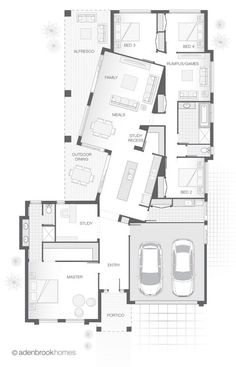 single-storey-home-design-the-heydon-by-adenbrook-homes-adenbrook-design-floorplans-heydon-home-homes-single-storey/ SULTANGAZI SEARCH Home Design, Design Design, Design Ideas, Interior Design, The Plan, How To Plan, Storey Homes, Basement Bedrooms, House Floor Plans