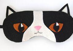 Pokey Grumpy Cat Brother Sleep Mask Animal Eye Mask Black and White Sleeping Mask Wool Felt Handmade Unisex Adult Mask