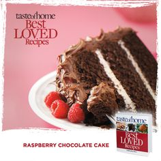 Your Best Loved Recipes: Raspberry Chocolate Cake from the kitchen of Marlene Sanders in Paradise, Texas. Order your copy today of the Best Loved Recipes cookbook at http://www.tasteofhome.com/best-loved-recipes/cookbook?Keycode=BLC71VH33M #TasteofHome #BestLovedRecipes