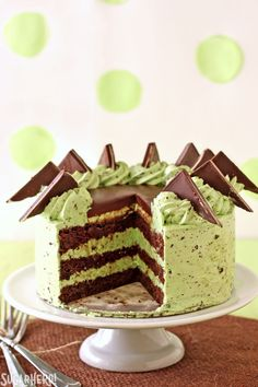 Mint Chocolate Chip Layer Cake - chocolate cake with Andes mints and a DELICIOUS mint chip frosting! | From SugarHero.com