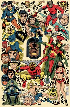 Jack Kirby Tribute Poster. Sterling Clark pencils, Michael Neno inks and colors