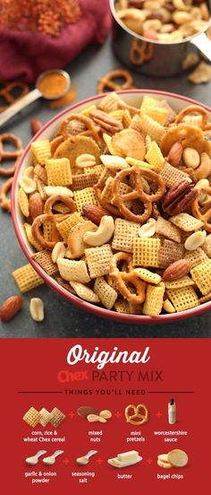Spend more time with family and friends and less time in the kitchen with our recipe for homemade Original Chex Party Mix! Our popular recipe is ready in just 15 minutes and full of the traditional flavors that have made it an annual party favorite!