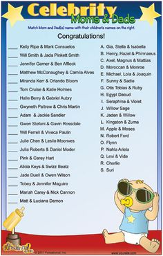 Celebrity moms and dads shower game printable
