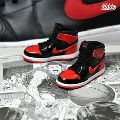 "Nike ""Air Jordan1 Bred"" by Kiddo #minishoes #mimiatureshoes #bjdshoes #dollshoes #miniaturenike"