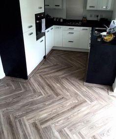 Emperor Flooring North East, Expona Design Light Elm in herringbone pattern in kitchen