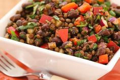 Black Bean and Lentil Salad Recipe with Red Bell Pepper, Cumin, and Cilantro; when I used to cater houseboat trips, this salad was something I made over and over!  [from Kalyn's Kitchen] #Vegan #GlutenFree