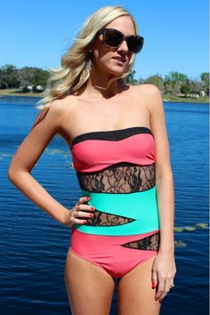 Cutout Lace One Piece swimsuit