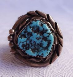 Large-Heavy-Signed-Vintage-NAVAJO-Sterling-Silver-TURQUOISE-RING-size-11-25