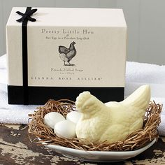 Pretty Little Hen Soap with Soap Eggs and Soap Dish  My Friend Tricia would LOVE THIS!! She has soooo many chicks.  @The Shopping Bag