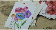 Tarjetas de flores y aves pintadas a mano con acuarela. Cute Hand Painting Birds and Flowers Fresh Watercolor postcards Wedding Invited Cards Celebrating Congratulation card. No. 3