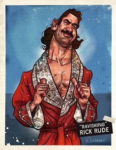 Ravishing Rick Rude by Steve Willaredt via http://battleroyalewithcheeze.blogspot.com