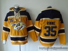 NHL Nashville Predators #35 Pekka Rinne Lace Up Pullover Hooded Sweatshirt Jersey
