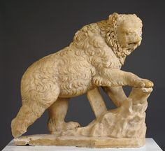 Statue of a Bear. Roman, 100 - 125. Marble. 171.2 × 53.3 × 127 cm (67 3/8 × 21 × 50 in.). The statue originally may have been part of a group scene depicting a hunt. Although they do appear in Roman art, bears are rare in large-scale Roman sculpture. I Getty Museum