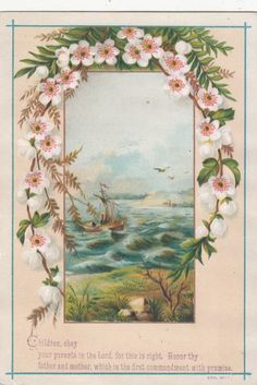 Ephesians 6:1-2 KJV...Children Obey your Parents in the Lord Boat on Ocean Religious Vict Card c 1880s