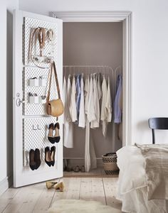 The new SKÅDIS pegboard from IKEA is quite the problem solver when it comes to storage. The customisable storage add-ons make it work great in kitchens, hallways bedrooms or craft rooms. Here three boards are secured to the inside of a walk-in wardrobe. Everything is on display in its place—even heels can hang on tool …