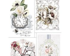 Items similar to Redesign Transfer - Bike Rides Floral Garden Picture on Etsy Rub On Transfers, Image Transfers, Foto Transfer, Iron Orchid Designs, Décor Antique, Images Vintage, Paint Companies, Shabby, Dixie Belle Paint